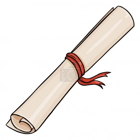 Vector Cartoon Scroll with Red Ribbon