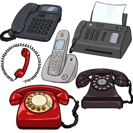 Set of Cartoon Telephones