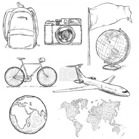 Set of Travel Sketch Objects and Signs