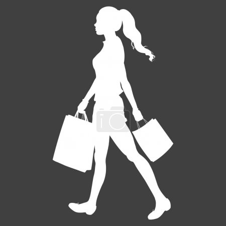 Girl goes and is in the hands of shopping bags