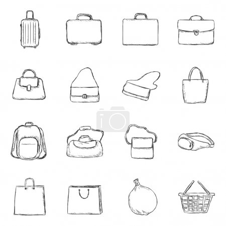 Set of Sketch Bags Icons