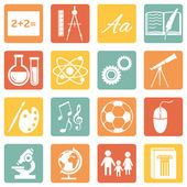 Vector Set of color School Subjects Icons