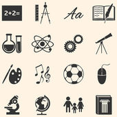Vector Set of black School Subjects Icons