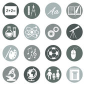 Vector Set of grey School Subjects Icons