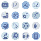 Vector Set of blue School Subjects Icons