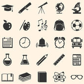 Vector Set of black School Icons