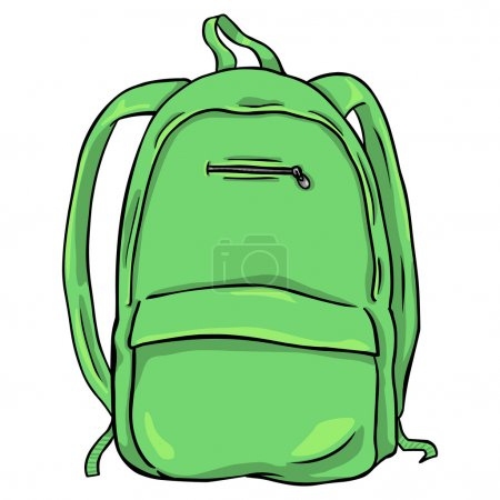 Illustration for Vector Green Cartoon Backpack - Royalty Free Image