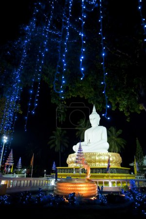 Buddha sculpture at night