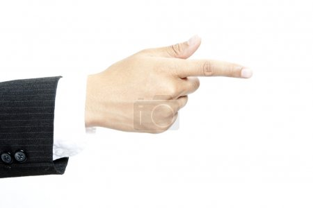 Photo for Businessman hand gesture pointing aside - Royalty Free Image