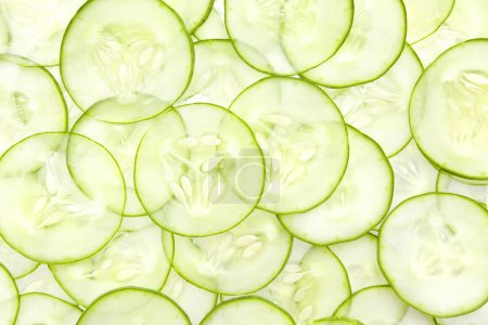 Photo for Fresh Cucumber and slices white background - Royalty Free Image