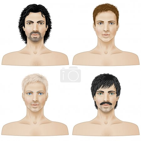 Illustration for Set of closeup faces of young men with different hairstyle isolated  on white. - Royalty Free Image