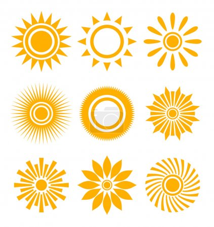 Illustration for Sun icon set - Royalty Free Image