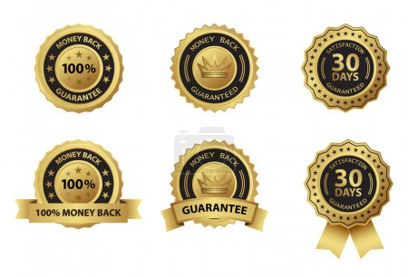 Illustration for Money back guarantee gold badge label - Royalty Free Image