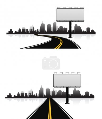 billboard on road to city - 3d background