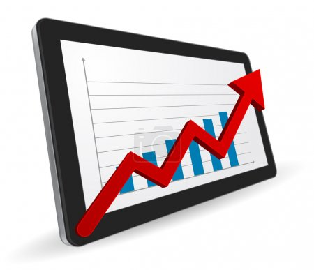 tablet computer 3d with financial graph