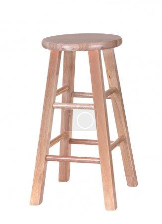 Photo pour Tabouret en bois isolé sur fond blanc - image libre de droit