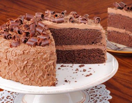 Photo pour Tranches de gâteau au chocolat couche sur un plateau - image libre de droit