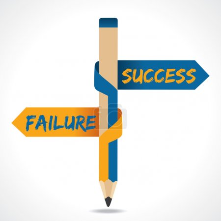 Success Failure arrow in opposite directions of pencil
