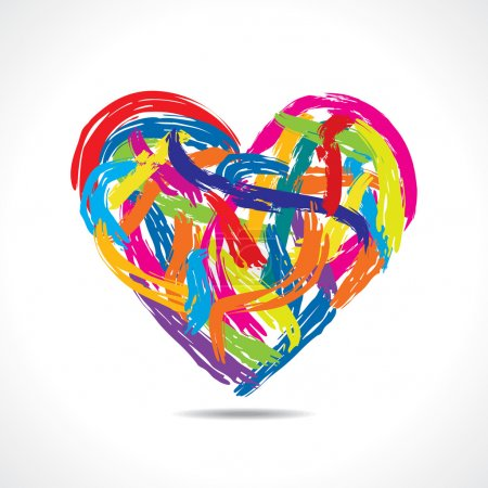 Illustration for Love concept, colorful heart with paint strokes vector - Royalty Free Image