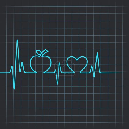 Heartbeat make apple and heart symbol