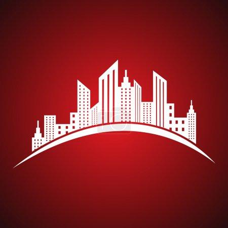 Illustration pour Illustration de l'icône abstraite de l'immobilier blanc - image libre de droit