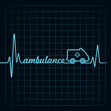 Illustration for Heartbeat make an ambulance text and symbol - Royalty Free Image