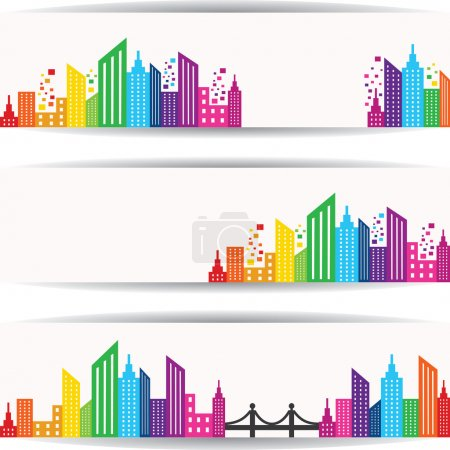 Abstract colorful buildings design for website banner