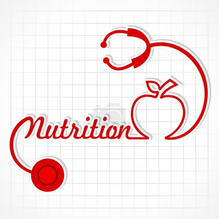Stethoscope make nutrition word and apple