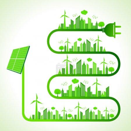 Illustration pour Illustration du concept écologique avec panneau solaire - sauver la nature - image libre de droit