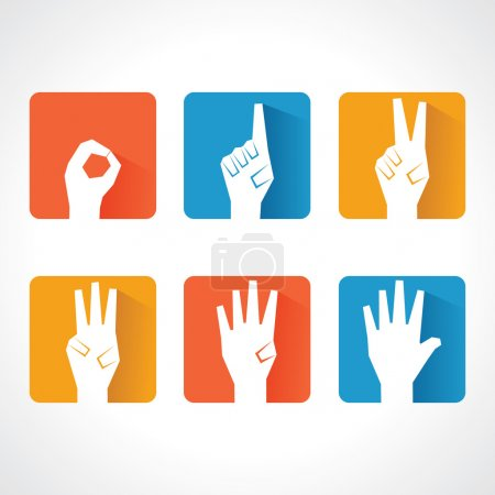 Illustration for Hands make number zero to five with copy-space stock vector - Royalty Free Image