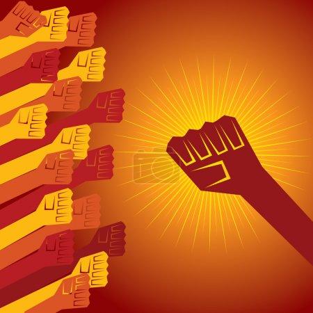 Illustration pour Poing serré tenu dans le concept de protestation illustration vectorielle - image libre de droit