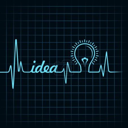 Illustration pour Heartbeat faire ides mot et ampoule vecteur de stock - image libre de droit