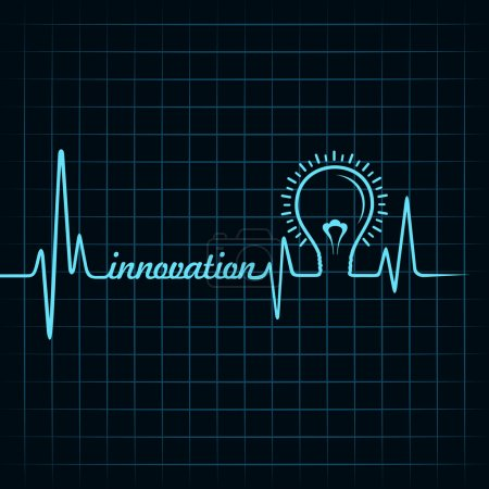 Heartbeat make innovation word and light-bulb