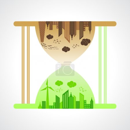 Eco and polluted city concept with sand watch