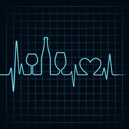 Illustration pour Des battements de cœur font des verres à vin, bouteille et symbole du cœur, illustration - image libre de droit
