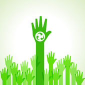 Green helping hand background with recycle icon