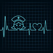 Heartbeat make nurse face and heart symbol