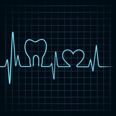 Illustration pour Les battements de cœur font un vecteur de dents et de symboles cardiaques - image libre de droit