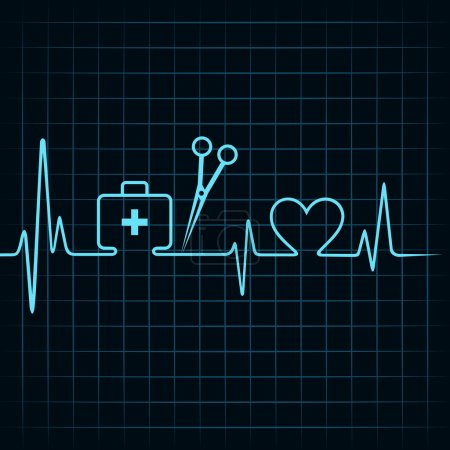 Illustration for Heartbeat make a first aid box,scissor, and heart symbol vector - Royalty Free Image
