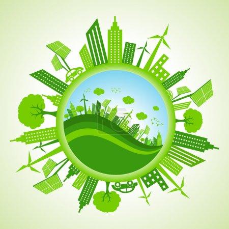 Eco cityscape around circle