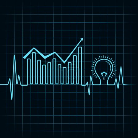 Illustration for Heartbeat make business graph and light-bulb vector - Royalty Free Image