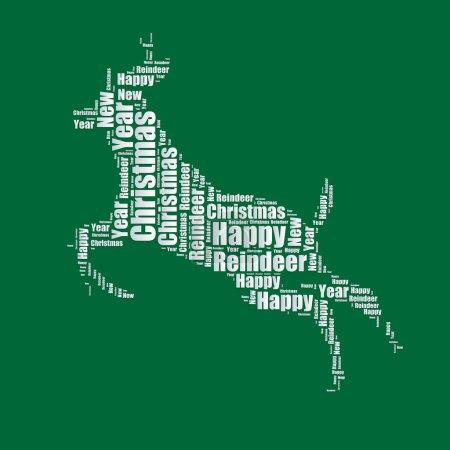 Reindeer Word cloud typography text word art vector illustration