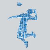 Volleyball Typografie 3d Text Wort Kunst Volleyball-Vektor-Illustration-Wort-Wolke