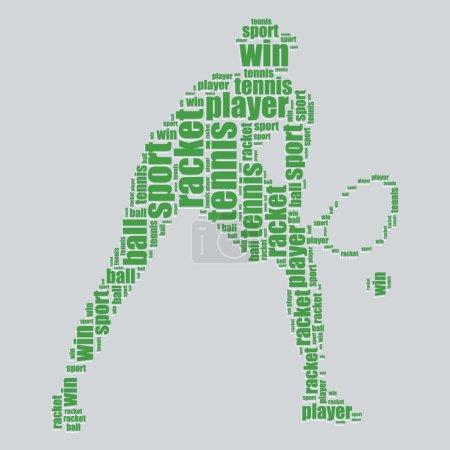 Illustration pour Tennis typographie 3d texte art tennis vecteur illustration mot nuage - image libre de droit
