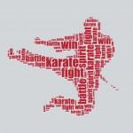 Karate typography 3d text word art karate vector i...