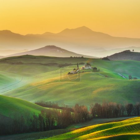 Sunny landscapes and beautiful mornings on the fields in Tuscany