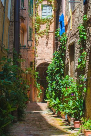 The streets of the old Italian city of Siena