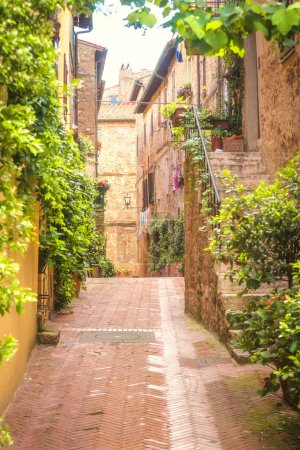 Old street in Pienza, a Renaissance town in northern Tuscany, It