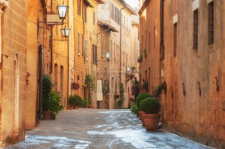The old town and the streets of the medieval period Pienza, Ital