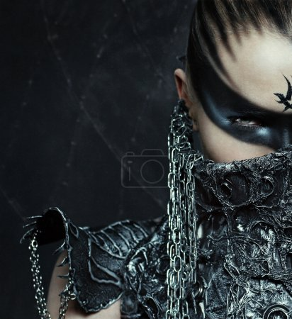 Photo for Portrait of beautiful warrior girl . Air brush make up. - Royalty Free Image